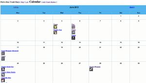 Trash Diary Calendar
