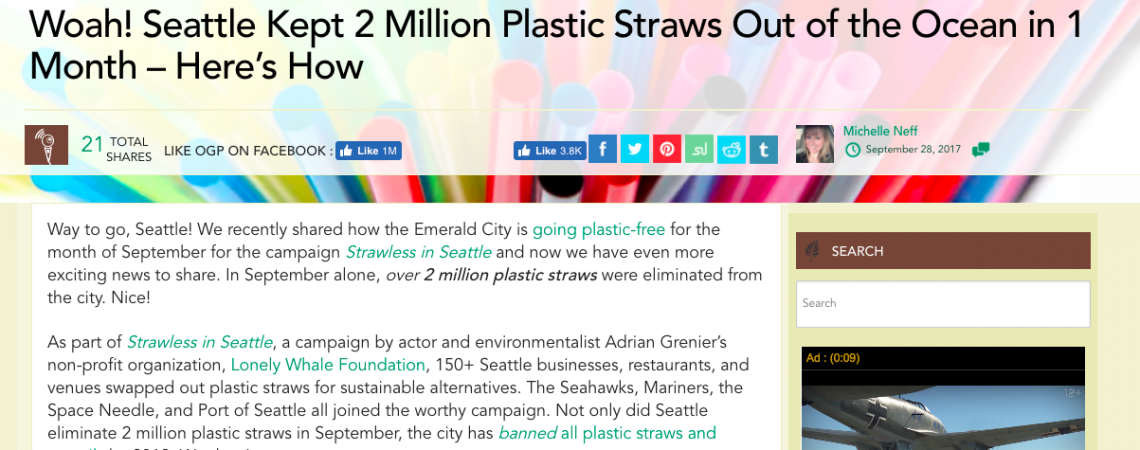 Article: Woah! Seattle Kept 2 Million Plastic Straws Out of the Ocean in 1 Month