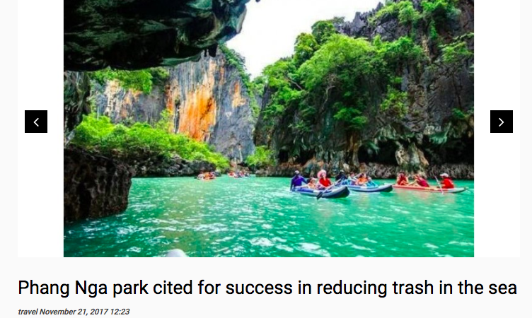 Article: Phang Nga Park Cited for Success in Reducing Trash in the Sea