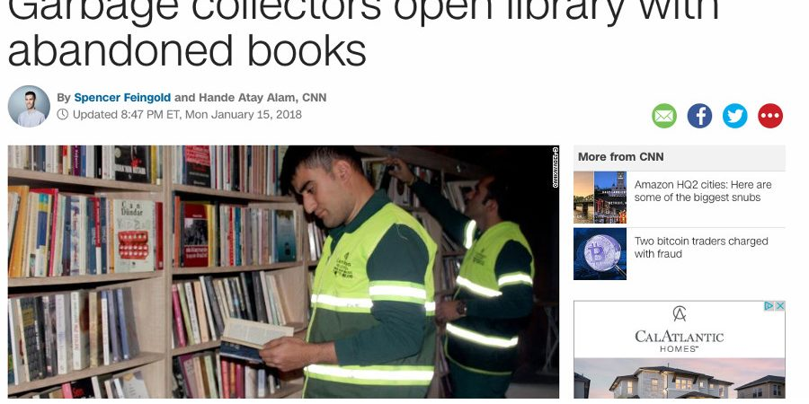 Article: Garbage collectors open library with abandoned books